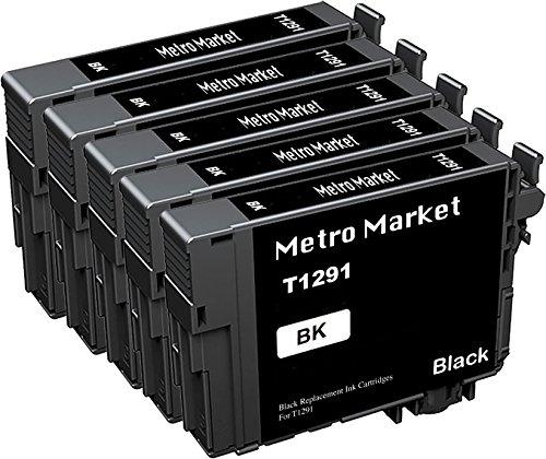 Metro Market 5 Schwarz T129XL Kompatibel für Tintenpatronen Epson T129 T1291 T1292 T1293 T1294 T1295 Epson Stylus SX235W SX230 SX430W SX420W SX440W SX525WD Epson Workforce WF-3520