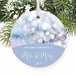 our First Christmas AS Mr & Mrs blu lucette regalo di nozze per sposa e sposo sposi marito e moglie rotonda, decorazione natalizia, ricordi, decorazione per albero di Natale, ° anniversario di matrimonio