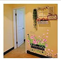 Fagreters Romantic Flower Butterfly Floats Skirting Line Wall Stickers Living Room Backdrop Home Decor Mural Decal Wallpaper