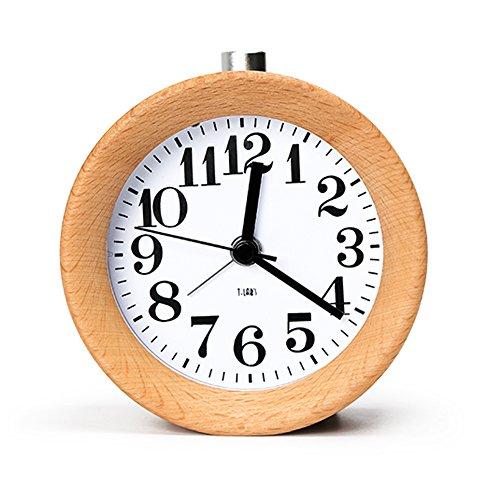 vivisky-mignon-reveil-classique-en-bois-silencieux-alarme-horloge-snooze-hetre-bois-alarm-clock-chev
