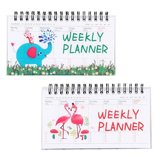 (CAOSAN Wochenkalender Weekly Planer 2019 Schulkalender Haushaltsplaner To Do Tischkalender 2019 für Schüler Grundschule (50 Seiten. 8,6cm*15,8cm) (Flamingo & Elefant))