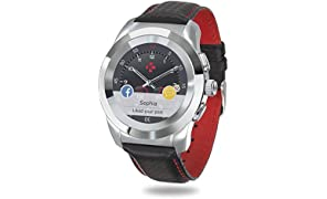 MyKronoz ZeTime Premium Hybrid Smartwatch 44mm with mechanical hands over a color touch screen – Polished Silver / Black Carbon Red Stitching