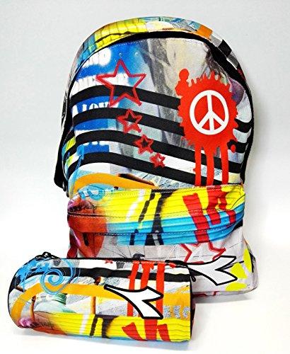 Astuccio Graffito Americano Diadora Scuola Zaino Pace Scolastico qxtYw