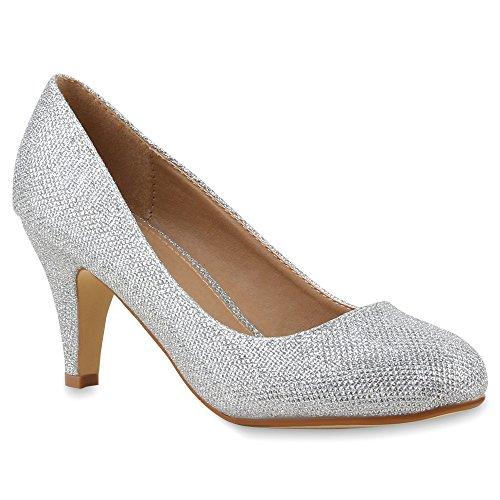 Damen Klassische Pumps Spitze Stiletto Party Mid Heels Glitzer High Heels Leder-Optik Hochzeit Abiball Schuhe 64442 Silber 38 Flandell (Thema Prinzessin Hochzeit)