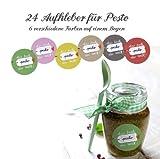 24er-Set Etiketten für das beste Pesto der Welt... MATTE Papieraufkleber für selbstgemachtes Pesto