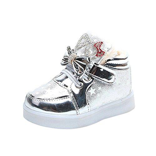 Fenverk Kinder Kind Star Bowknot Crystal Mesh LED Licht Leuchtend Turnschuhe Schuhe Baby Warm Winter Kleinkind BeiläUfig Mode Atmungsaktiv Stiefel(Silber-Baumwolle,28 EU)