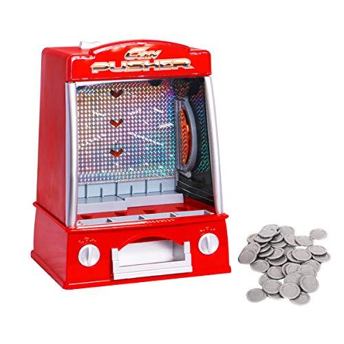 COSTWAY Coin Pusher Machine à sous Rouge Machine Pousse-Pièces avec 150 Pièces