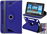 LOLO® Alcatel Pixi 3 (10) 10 INCH 360 Grad Rotation Universal PU Leder Hülle Abdeckung Ständer Tasche Beutel (Tablet Case - Cover- Folio) - Blau