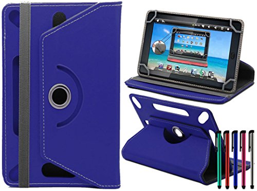 LOLO® Amazon Fire HD 10 Inch 360 Grad Rotation Universal PU Leder Hülle Abdeckung Ständer Tasche Beutel (Tablet Case - Cover- Folio) - Blau - 9 Fire Kindle Hd Fall