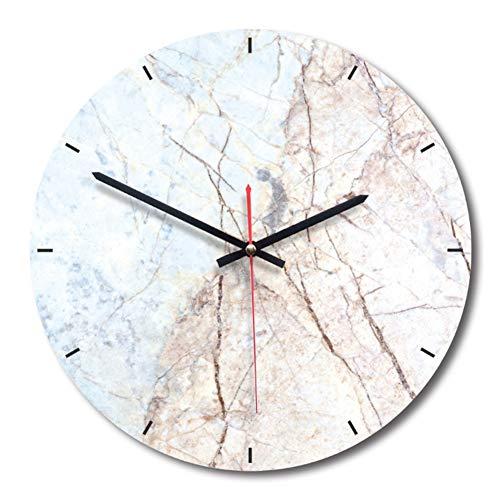 Wanduhr Moderne Einfache lautlos Wanduhren Marmor Design 28cm Für Wohnzimmer Büro Küchen Lounge Klassenraum ALS Geschenk (Weiß)