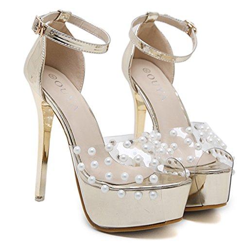 Oasap Women's Peep Toe Rivet Buckle Strap Stiletto Heels Sandals Silver