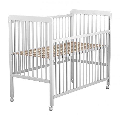 Lit bébé coulissant en bois laqué blanc Baby Fox avec roulettes 3 hauteurs 60 x 120 cm