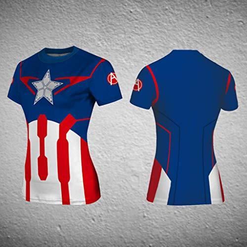 Avengers League,Das T-Shirt der Frauen,Kompressions-T-Shirt,3D bedrucktes T-Shirt,Fitness Kurze Ärmel 4-S (Namen Weibliche Superhelden)