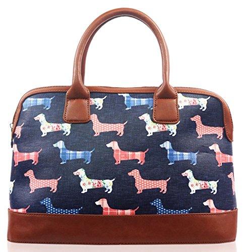 Kukubird Various Dog Poodle Dachshund Butterfly Bird Cat Floral Print Matte Canvas Satchel Bowling Bag