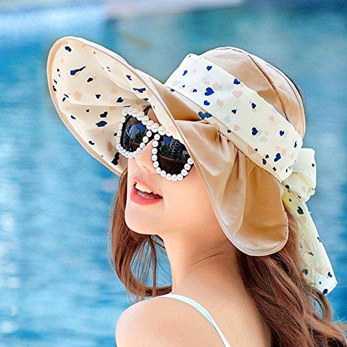 delle donne Cappello per il sole primavera e l'estate anti-UV cappello grande lungo la spiaggia di protezione solare del cappello di Sun pieghevole Cap ( colore : 2 )