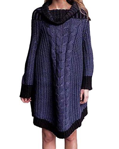Donna Maglia Maglioni Oversize Allentato Alta Colletto Maniche Lunghe Knitted Pullover Maglione Rosso Taglia Unica Blu Marino