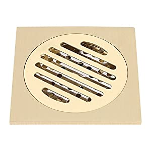Zerodis Drenaje Ducha de Piso, 4×4 Pulgadas de latón Cuadrado Anti-Olor Piso desagüe Ducha de baño Rejilla residuos con…