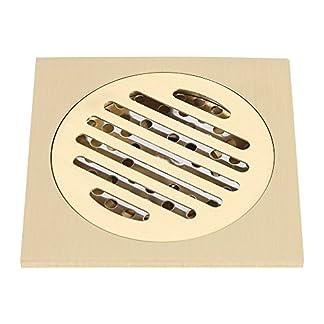 Zerodis Drenaje de Piso 4×4 Pulgadas de latón Cuadrado Anti-Olor Piso desagüe Ducha de baño Rejilla de residuos con Filtro extraíble