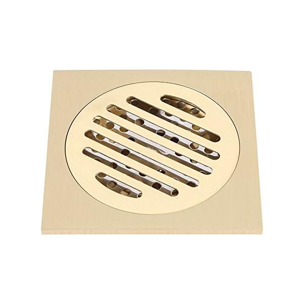Zerodis Drenaje de Piso, 4×4 Pulgadas de latón Cuadrado Anti-Olor Piso desagüe Ducha de baño Rejilla residuos con Filtro extraíble