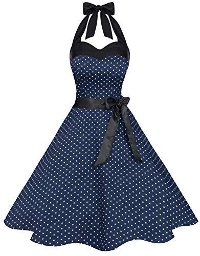 Zarlena Damen 50er Retro Rockabilly Pola Dots Petticoat Neckholder Kleid Navy/Weiss mit kleinen Dots X-Large 615-XL (Weißes Neckholder Korsett)