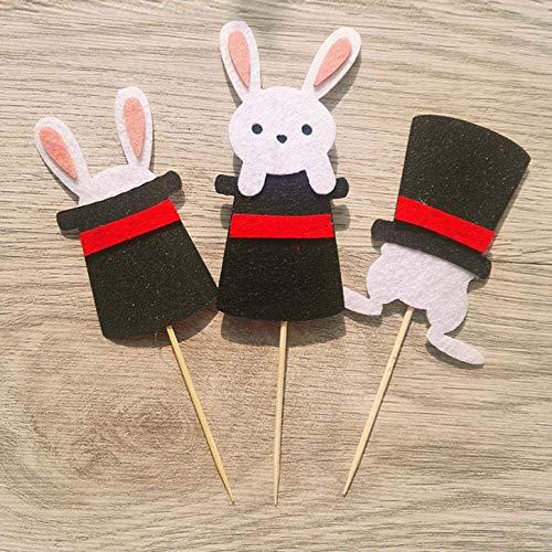 WeishenG Bevorzugt Wohndeko Osterhase Party Kuchen Verziert Schaustück Selektieren Flaggen Neu - Black Magic Hut Hase 3 Eintritt