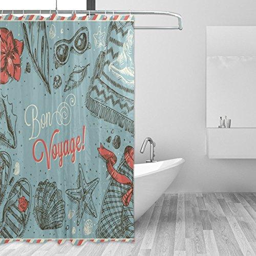 Polyester-Bon Voyage Duschvorhang Set-wasserabweisend Badezimmer Showe Vorhang Set Home Dekoration mit Haken, 66x 72L Zoll ()