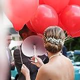 WeddingTree ® 60 x Handfächer Papier weiß faltbar - DIY- und Deko-Spaß für Groß und Klein - Gast-Geschenk Hochzeit Party Flamenco Bauch-Tanz - 6