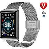 Fitness Trackers Herzfrequenz-Blutdruck Oxygen Monitor Big Colour Screen Activity Tracker Pedometer Sports Modes Calories Counter Smart Watch Waterproof für Android IOS,Silver