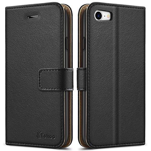 """Vakoo [Premium PU-Leder Schutzhülle Kompatibel mit iPhone 8 Hülle, iPhone 7 Hülle, Brieftasche Handyhülle für Apple iPhone 8/7 (4,7"""") - Schwarz"""