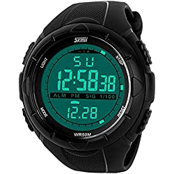LinTimes Men's Big Case Waterproof Multifunctional Military Sport Wrist Watch Digital LED Sport Watch with Rubber Band - Black