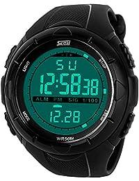 lintimes Big Étui Veste imperméable multifonction sport militaire poignet montre numérique à LED Montre sport avec bracelet en caoutchouc–Noir