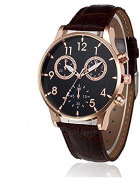 BeautyTop Herren Retro Entwurfs-Lederband-analoge Legierungs-Quarz-Armbanduhren (Braun)