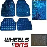 blau metallisch metallic Aluminium Riffelblech Look 4 Stück Universell Fußmatten Satz
