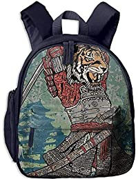 Lovely Schoolbag Tiger Fighter Double Zipper Waterproof Children Schoolbag Backpacks with Front Pockets for Teens