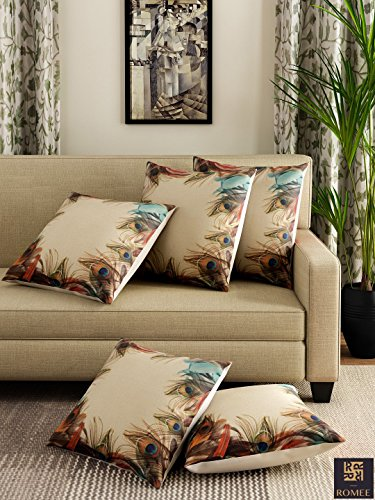 Romee Multicolor Polyester Jute Fabric Peacock Feather Print Cushion Cover 16