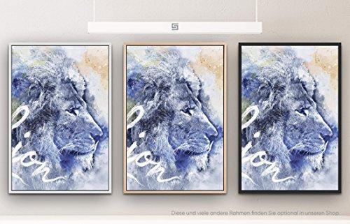 Lion III 90x60cm auf Leinwand im Schattenfugenrahmen schwarz edel (Einlösen Von Geschenkkarten Von Amazon)