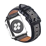 ToMoYi Armband für Apple Watch 38mm 40mm, Lederarmband Vintage Uhrenarmband Ersatzband mit Edelstahlschließe für Apple Watch Series 4,Series 3, Series 2, Series1 Nike+ Hermes&Edition Damen Herren