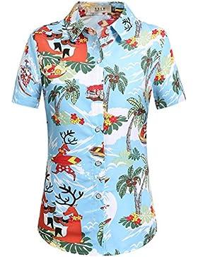 SSLR Blusa Mujer Hawaiana Manga Corta Camisa Casual Aloha Luau Tropical de Papa Noel Navidero