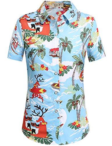 SSLR-Blusa-Mujer-Hawaiana-Manga-Corta-Camisa-Casual-Aloha-Luau-Tropical-de-Papa-Noel-Navidero-Large-Azul