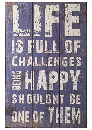 nostalgie Holzschild Life is full of challenges Metall Antik Vintage Schild