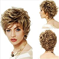 JINGDIAN Pelucas para mujeres De moda Nuevo estilo Vida cotidiana con cabello corto Peluca en forma de U femenina Peluca de fibra química de los rizos de la moda estilo bobo Oro
