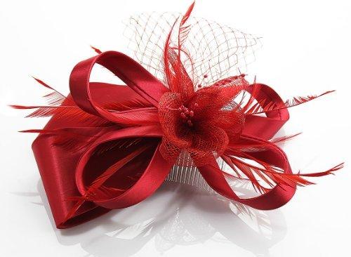 Rot Feder und Blumen Mesh Haar Fascinator with PreciousBags Dust Bag