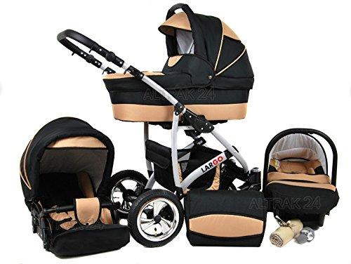 +++ SALE Raff Largo System Kinderwagen Babywagen Buggy, Autositz Kinderwagen System 3 in1 + Wickeltasche + Regenschutz +Insektenschutz (Set 3w1: Wanne + Sportsitz + Babyschale, beige-black)