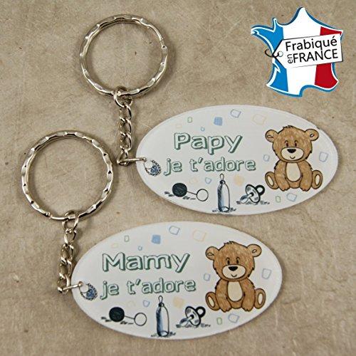 Lot 2 Portes Clefs - 1 Papy + 1 Mamy (Cadeau anniversaire, noël pour papi et mamie, fête des grands pères grands mères ...)