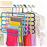 Floraware Plastic 5 Layer Colorful Pants Scarf Trousers Clothes Towels Hanger/Holder, Set of 3, Multicolour