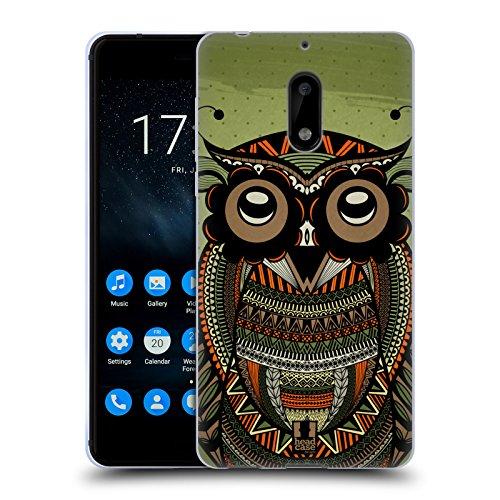 Head Case Designs Auf Grün Tribal Eulen Soft Gel Hülle für Nokia 6