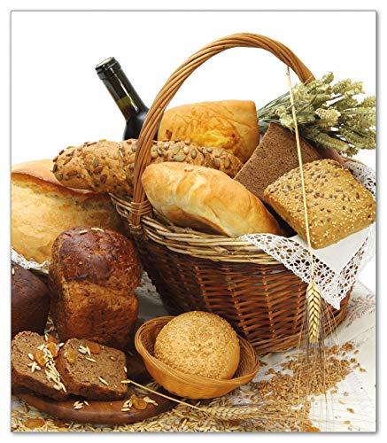 Wallario Herdabdeckplatte/Spritzschutz aus Glas, 1-teilig, 52x60cm, für Ceran- und Induktionsherde, Brot und Brötchen im eleganten Korb - mit Wein und Getreide