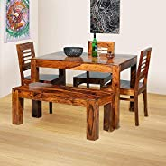 Furniture World Sheesham Wooden Dining Table 4 Seater | Dining Table Set with 3 Chairs & 1 Bench | Home Di