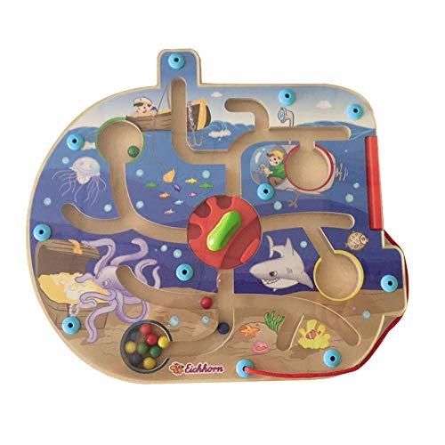 #11 Holz Labyrinth Magnet-Perlen Spiel im Unterwasser Design • Holz Puzzle Magnet Spiel Kinder Lernspielzeug Motorik Spielzeug Set (Puzzle Magnet-labyrinth)