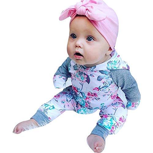 (Oliviavan Baby Langarm Floral Kapuzenpullover Set Weiß Jumpsuits Hoodie Sweatshirt Elegant Blumenmuster Tops Straight Leg Stretch lang Hose Outfits(6M-24M))